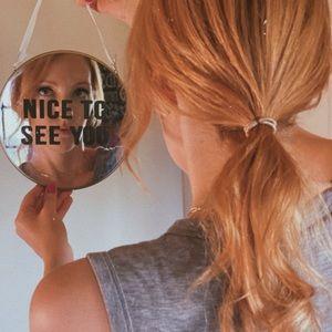 "Custom made ""nice to see you"" round mirror wall"